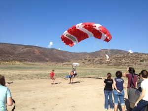 Mike Adams landing after skydiving in San Diego