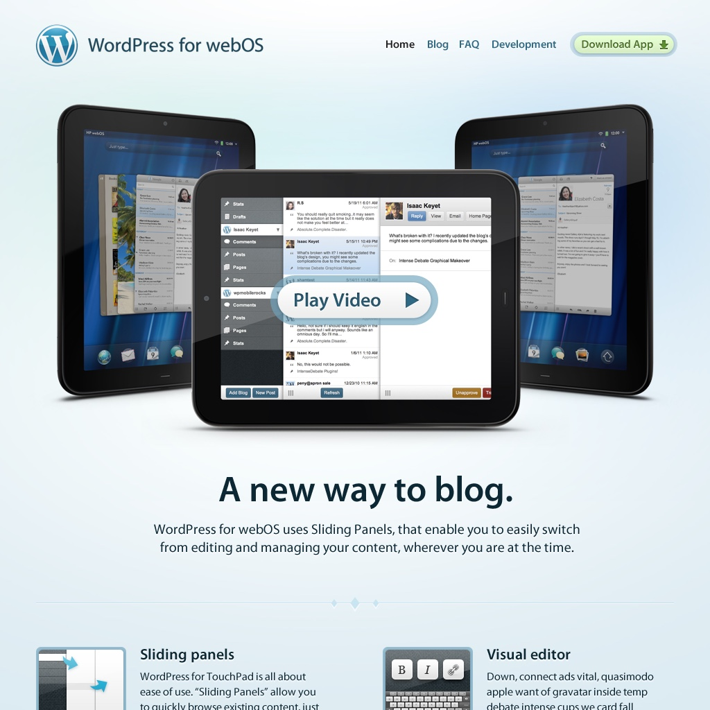 Official WordPress Mobile Apps WordPress for WebOS Website